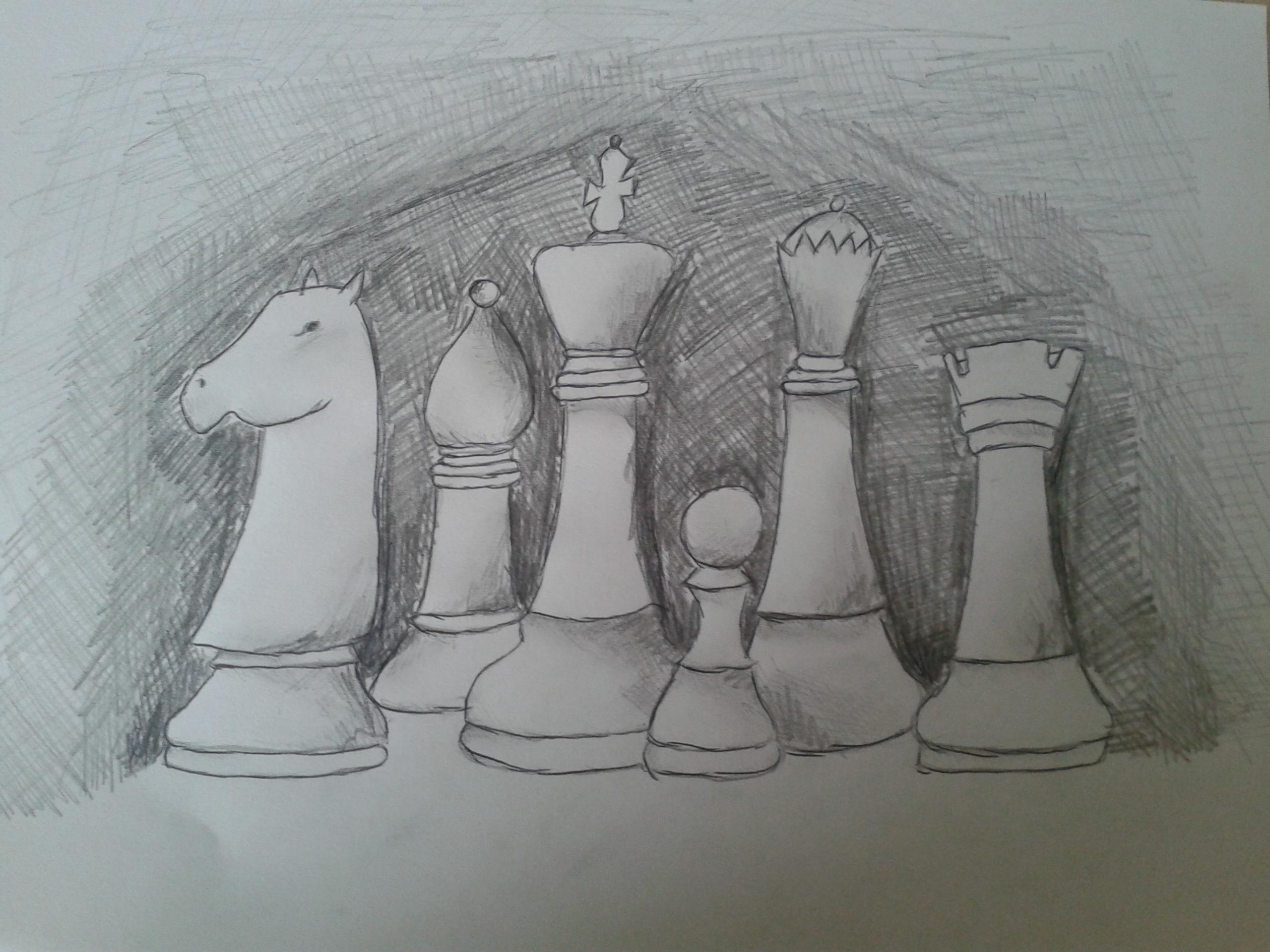 Bierki szachowe. Rysunek - Monika Zborowska.