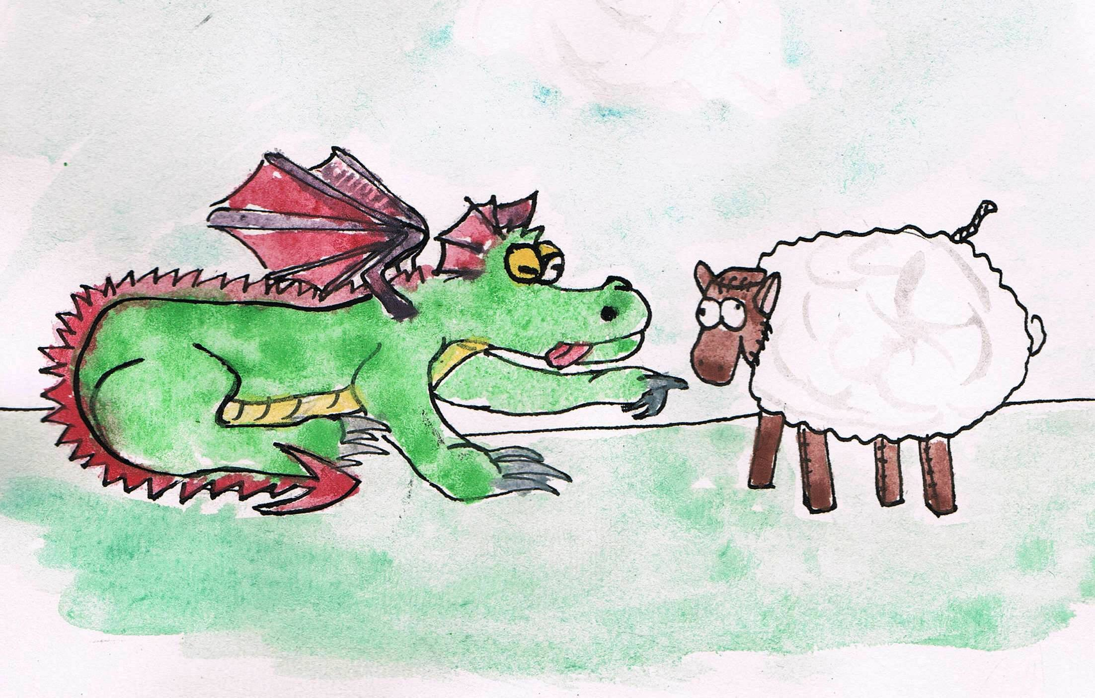 Zatruta owieczka. Rysunek - Maciej Król.