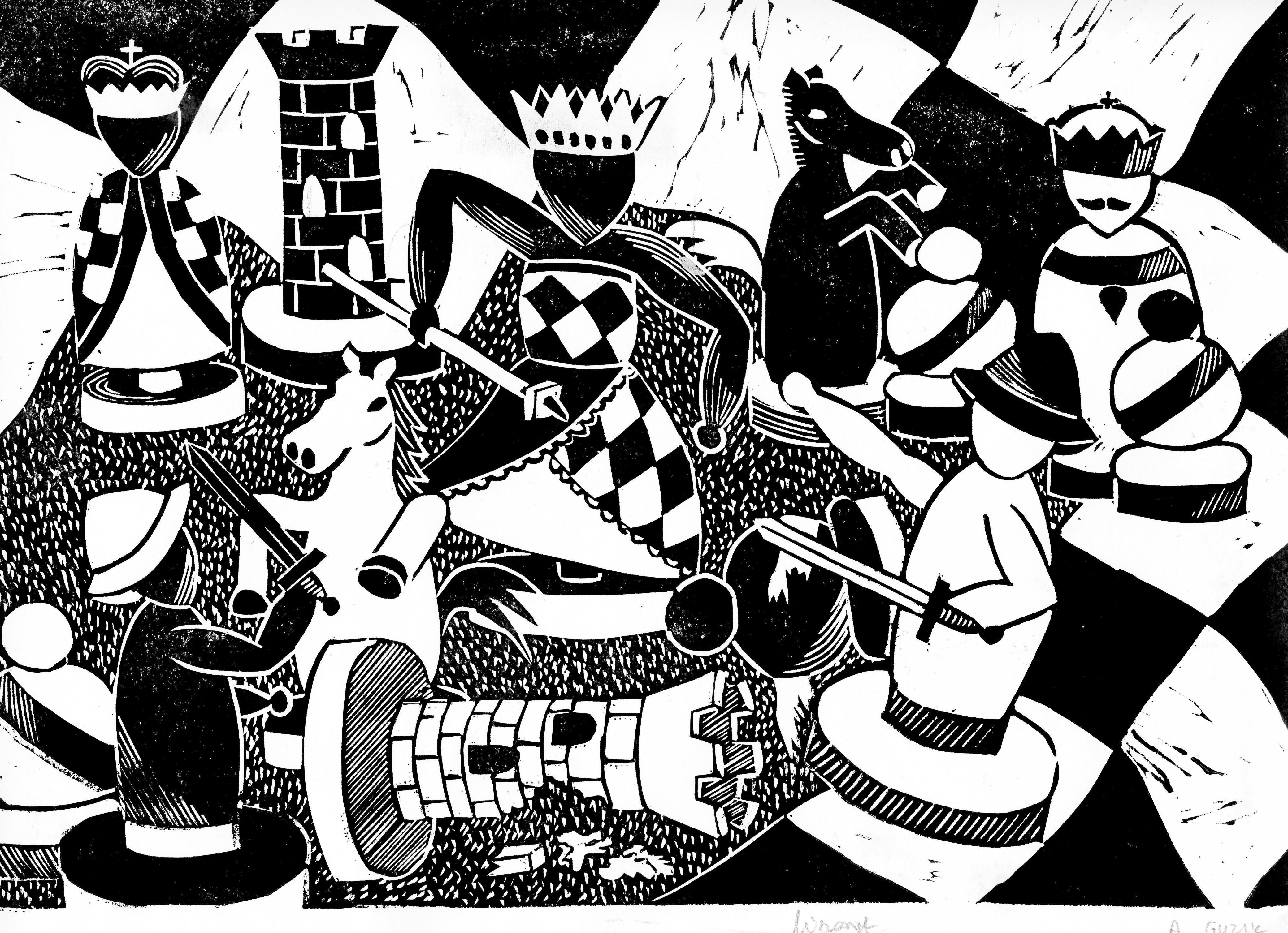Rysunek – Alicja Guzik (lat 20, PCK w Nowym Targu). Konkurs KRÓLEWSKA GRA – SZACHY (wyróżnienie), MDK Śródmieście Wrocław, listopad 2015.