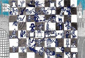 Niccolo Karol Garibotto, Włochy, Sestri Levante, rysunek, KRÓLEWSKA GRA - SZACHY, MDK Śródmieście Wrocław, konkurs plastyczny, szachowa walka, partia szachów, grafika, bierki szachowe, szachownica, białe i czarne, pierwszy krok w szachach, szachiści,