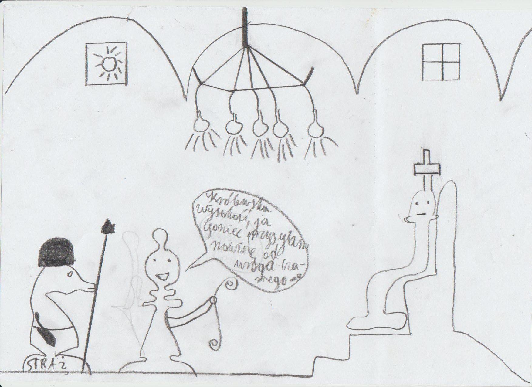 Goniec przed obliczem Króla. Rysunek - Damian Prędota.