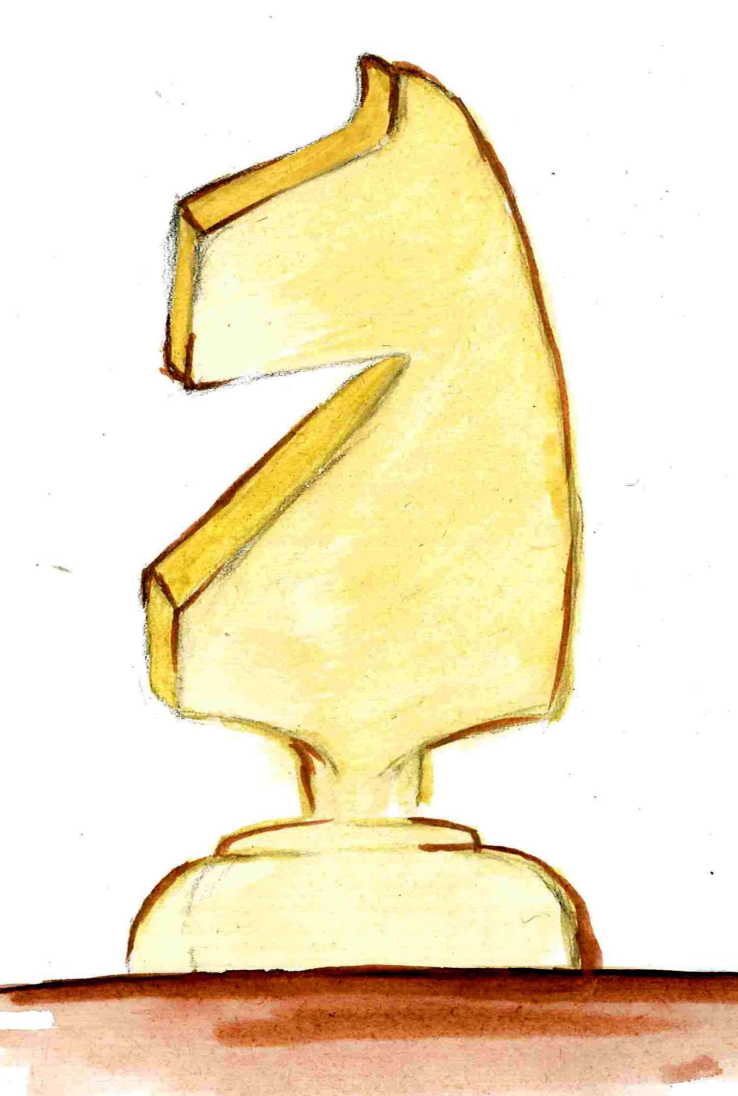 Natalia Bednarczyk, rysunek, skoczek szachowy, szachowa bierka, figura, Gimnazjum nr 13 we Wrocławiu, przedmiot szachy, nauka szachów, lekcje szachowe, pierwszy krok w szachach, uczennica,