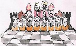 Bierki szachowe. Rysunek - Maciej Król.