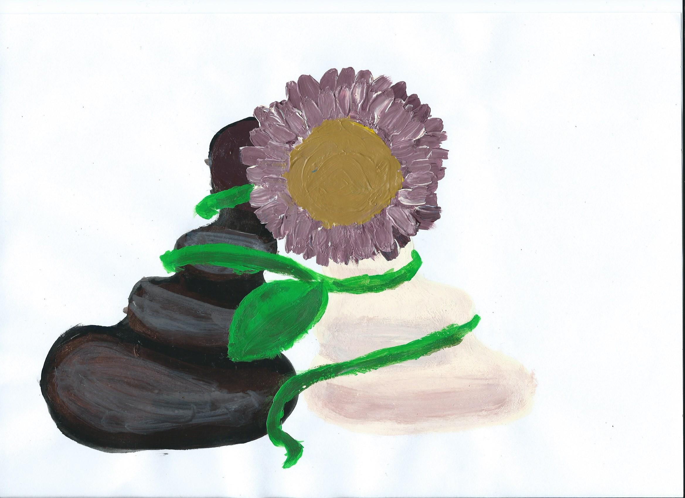 Chwast trzyma dwa pionki! Rysunek - Elżbieta Skorupa.