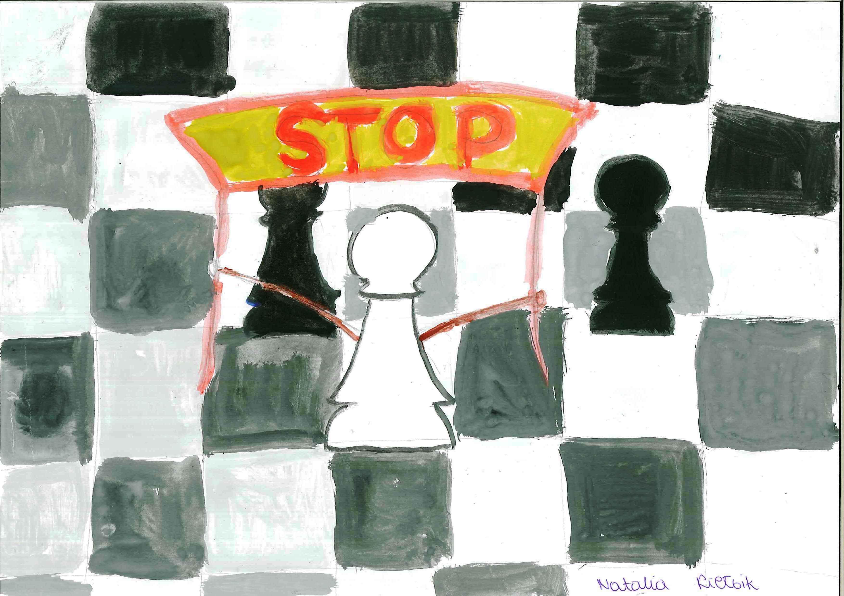 Zasada Capablanki. Rysunek - Natalia Kiełbik.