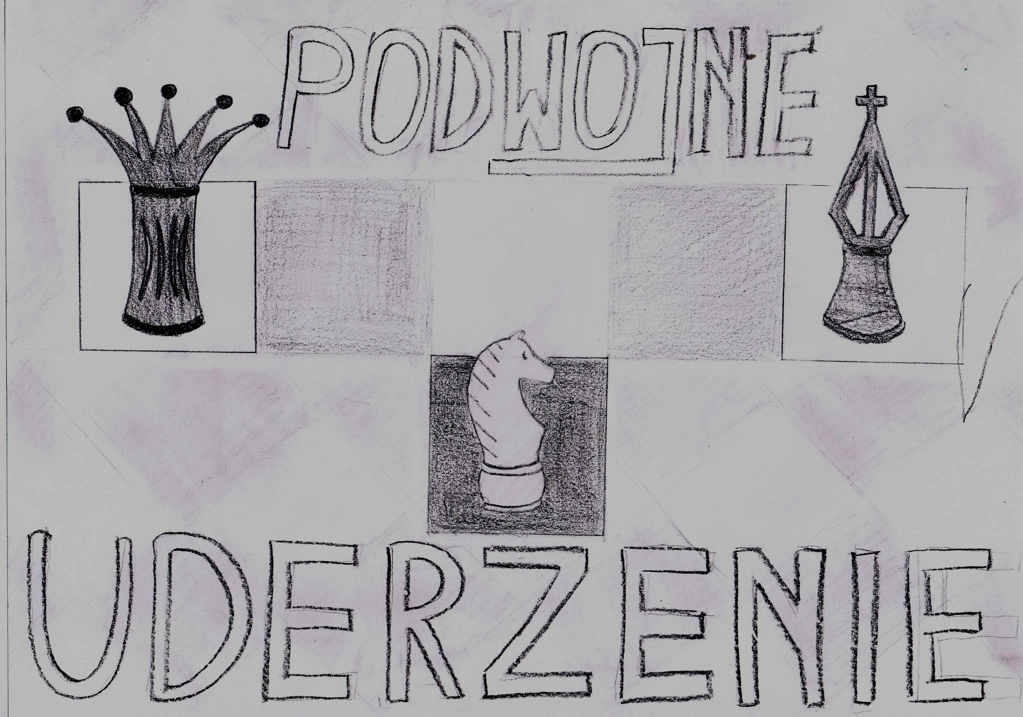 Podwójne uderzenie. Autorka rysunku: Zuzanna Wojtala (uczennica Gimnazjum nr 13 im. Unii Europejskiej we Wrocławiu).