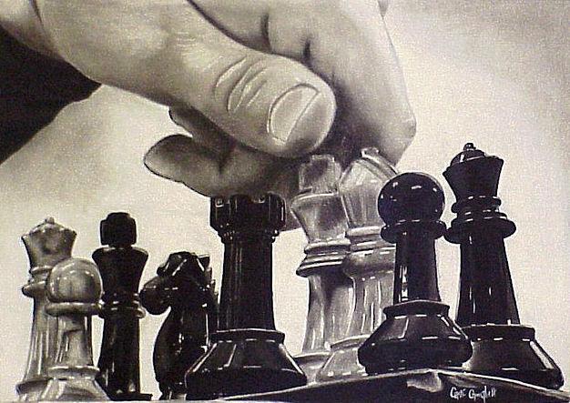 Bierki szachowe. Fotografia. Ajit Vaidya (2004).
