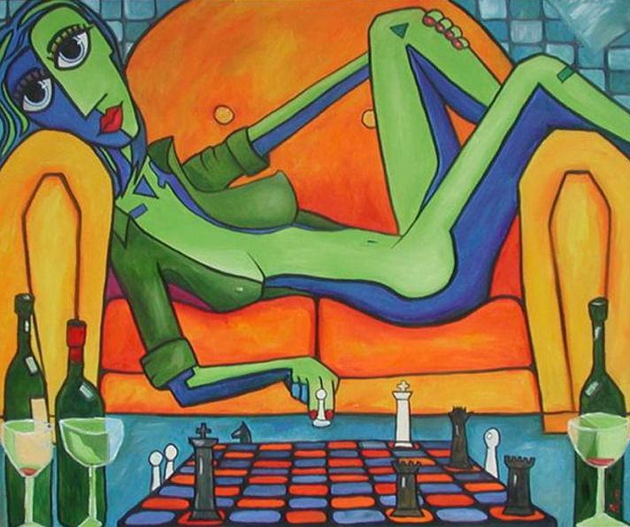 Bardzo, bardzo przyjazna gra w szachy, 2004, Obraz, Glenn Payan,