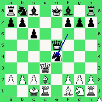 8...Sf6:e4?? 9. ??? Mat w 3 posunięciach.
