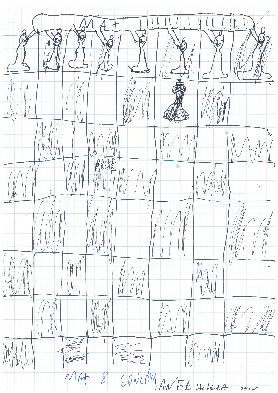 Mat 8 gońców. Rysunek - Jan Hotała.