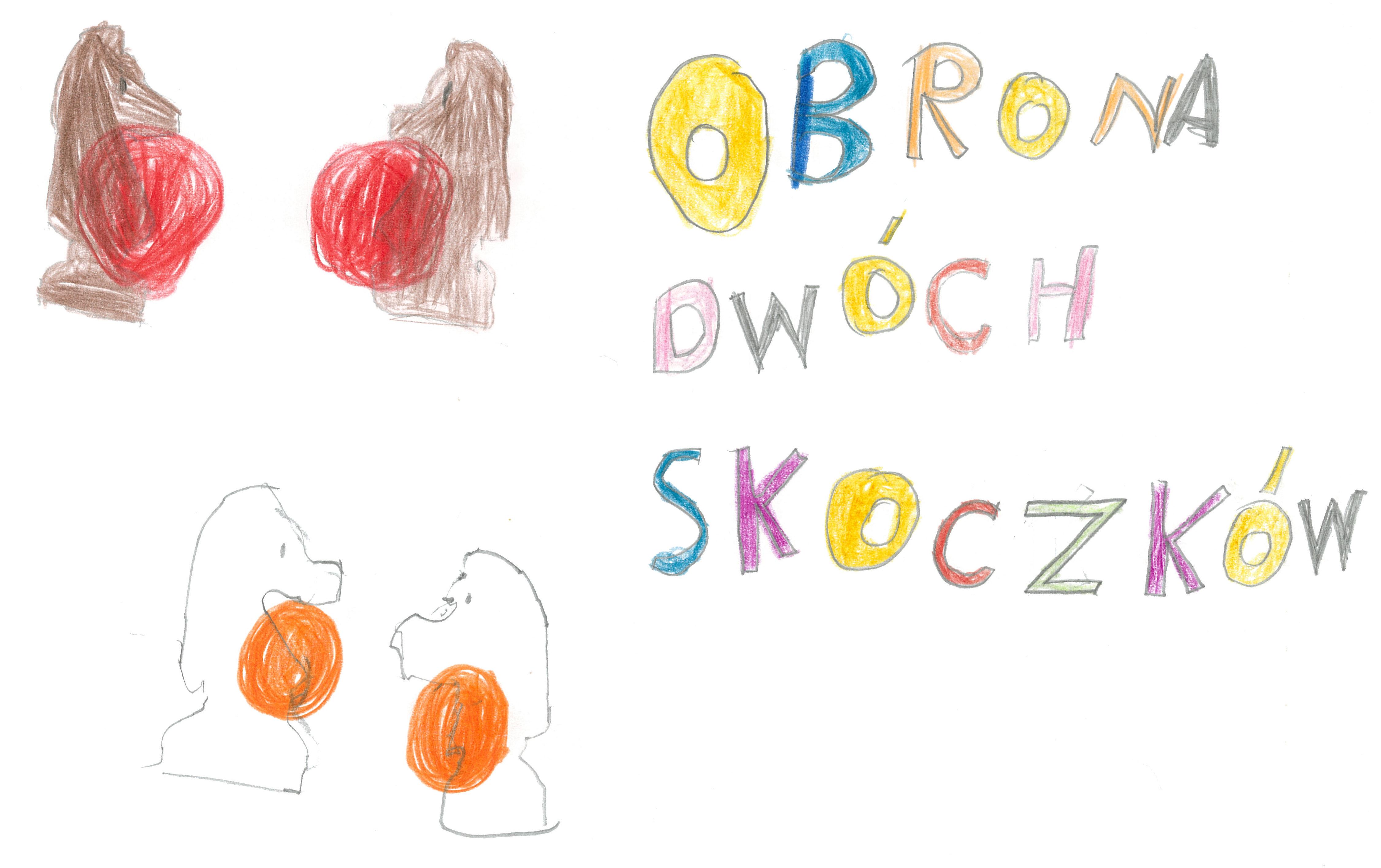 Obrona dwóch skoczków. Rysunek - Olga Kraszewska.