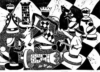 rysunek, Alicja Guzik, KRÓLEWSKA GRA SZACHY, PCK Nowy Targ, MDK Śródmieście Wrocław, konkurs plastyczny, szachowa walka, partia szachów, grafika, bierki szachowe, szachownica, białe i czarne, pierwszy krok w szachach,