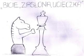szachy, szach, Bicie, zasłona, ucieczka, Rysunek, Aleksandra Królicka, interaktywny podręcznik szachowy, piękno w szachach, lekcje szachowe,