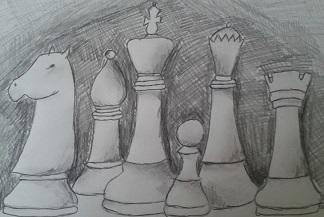 szachy, bierki szachowe, rysunek, Monika Zborowska, Gimnazjum nr 13 we Wrocławiu, nauka szachów, interaktywny podręcznik szachowy, pierwszy krok w szachach,