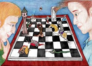 rysunek, Małgorzata Rybak, KRÓLEWSKA GRA - SZACHY, III Liceum Ogólnokształcące we Wrocławiu, MDK Śródmieście Wrocław, konkurs plastyczny, wyróżnienie, szachowa walka, partia szachów, grafika, bierki szachowe, szachownica, białe i czarne, pierwszy krok w szachach, szachiści,
