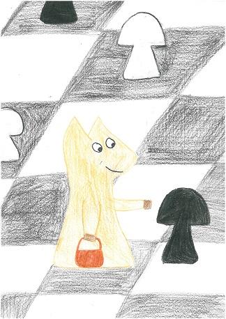 szachy, Interaktywny Podręcznik Szachowy, Skoczek zbiera grzyby, Rysunek Zuzanna Jasińska, nauka szachów, posunięcia bierek szachowych, lekcje szachowe,