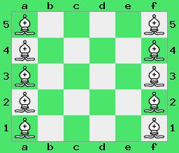 szachy, interaktywny podręcznik szachowy, zadania dla całej rodziny, Na szachownicy 6x5 można ustawić aż 10 gońców tak, by się wzajemnie nie atakowały. (apronus - diagram)