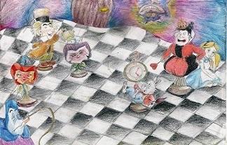 Alicja, pułapki, rysunek, MDK Śródmieście Wrocław, Wirginia Kieliba, Bartosz Hęćka, Interaktywny Podręcznik Szachowy, ciekawa gra w szachy, nauczanie szachów, lekcje szachowe, szachowa fantazja, klub szachowy, piękno w szachach, szachownica,