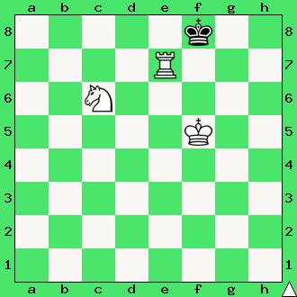 mat w 2 ruchach, szachy dla dzieci, interaktywny podręcznik szachowy, rozwiązanie zadania szachowego, lekcje szachowe, matowanie wieżą i skoczkiem, uczymy się szachów, daj mata w dwóch posunięciach, diagram, apronus, wieża, skoczek, król, piękno w szachach,