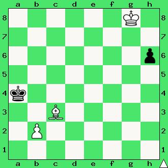 szachy dla dzieci, mat, ćwiczenie, gra z komputerem, szachowa końcówka, wygrana, diagram, apronus, interaktywny podręcznik szachowy, posunięcie białych, goniec, król, pionek, lekcje szachowe, piękno szachów,