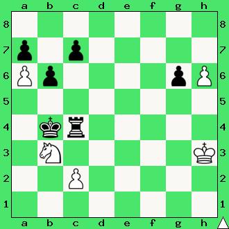 szachy dla dzieci, ćwiczenie, gra z komputerem, szachowa końcówka, wygrana, diagram, apronus, interaktywny podręcznik szachowy, posunięcie białych, wieża, król, pionki, skoczek, lekcje szachowe, piękno szachów,