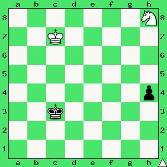 szachy dla dzieci, ćwiczenie, gra z komputerem, szachowa końcówka, wygrana, diagram, apronus, interaktywny podręcznik szachowy, posunięcie białych, promocja, kwadrat skoczka, król, pionek, skoczek, lekcje szachowe, piękno szachów,