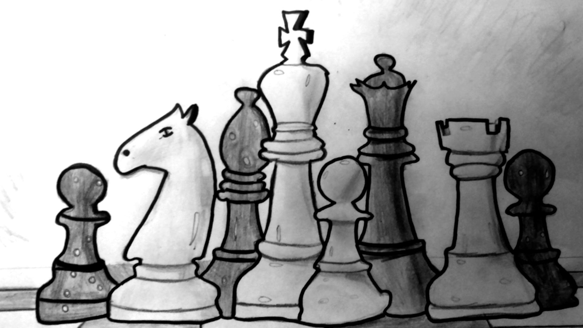 pionki, hetman, wieża, król, skoczek, goniec, piękno szachów, szachownica, rysunek, Maja Krzyszycha, Gimnazjum nr 13 im. Unii Europejskiej we Wrocławiu, szachy dla dzieci, bierki szachowe, interaktywny podręcznik szachowy,