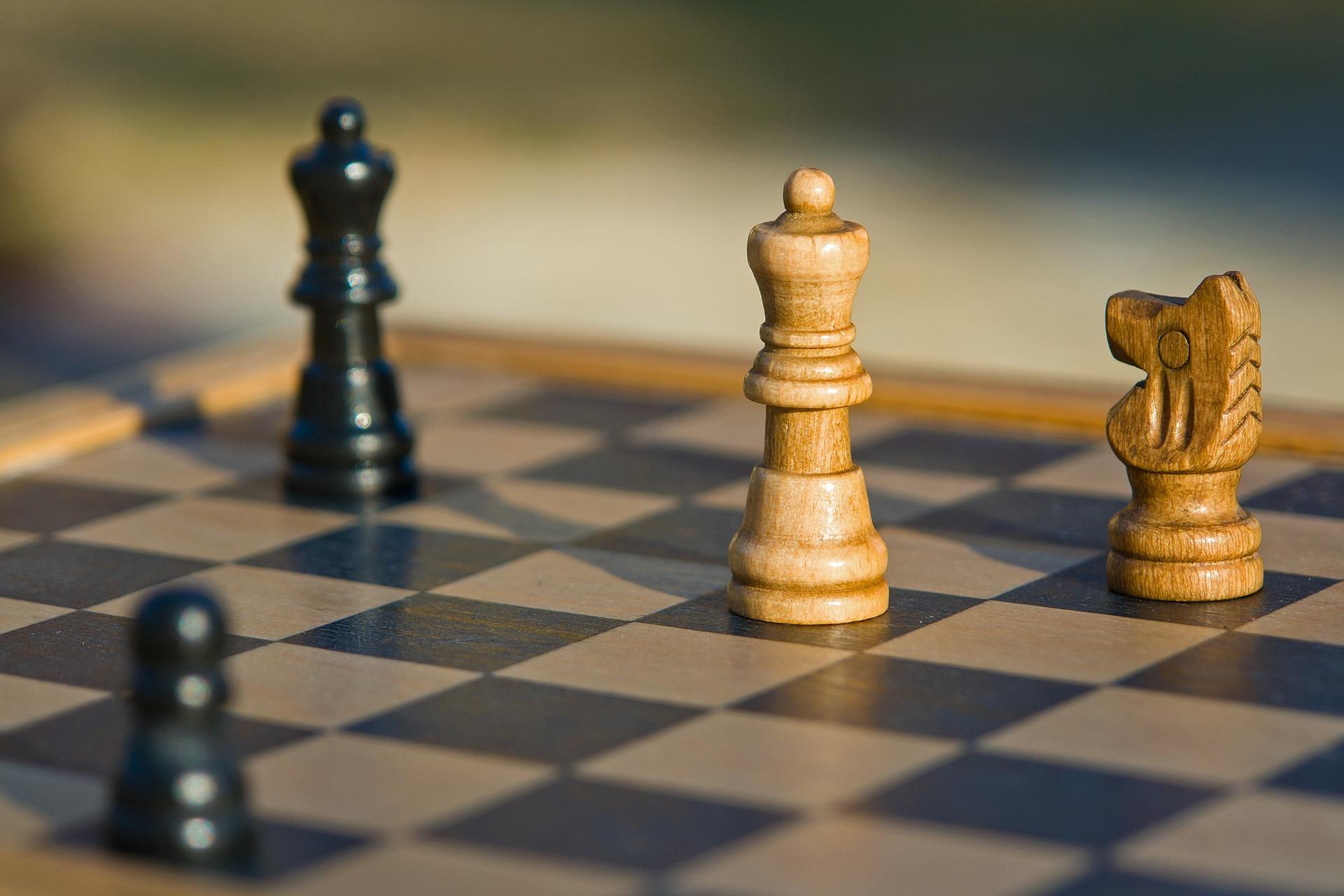 czarny pionek, czarny hetman, biały skoczek, biały hetman, szachy dla dzieci, zdjęcie, figury szachowe, szachownica, współdziałanie,
