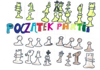 początek partii, pozycja wyjściowa, ustawienie startowe, bierki szachowe gotowe do gry, Rysunek, Oliwia Ścisła, Olga Kraszewska, obóz letni, Sokołowsko, MUKS MDK Śródmieście Wrocław, interaktywny podręcznik szachowy, szachy dla dzieci, lekcje szachowe, piękno w szachach, szachowa partia,