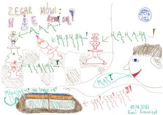 zegar szachowy, nie śpiesz się, rysunek, Emil Krawczyk, uczestnik obozu, letni obóz, sekcja szachowa, MUKS MDK Śródmieście Wrocław, Sokołowsko, 9-20.07.2016, interaktywny podręcznik szachowy, lekcje szachowe, szachy dla dzieci, szachowa partia,