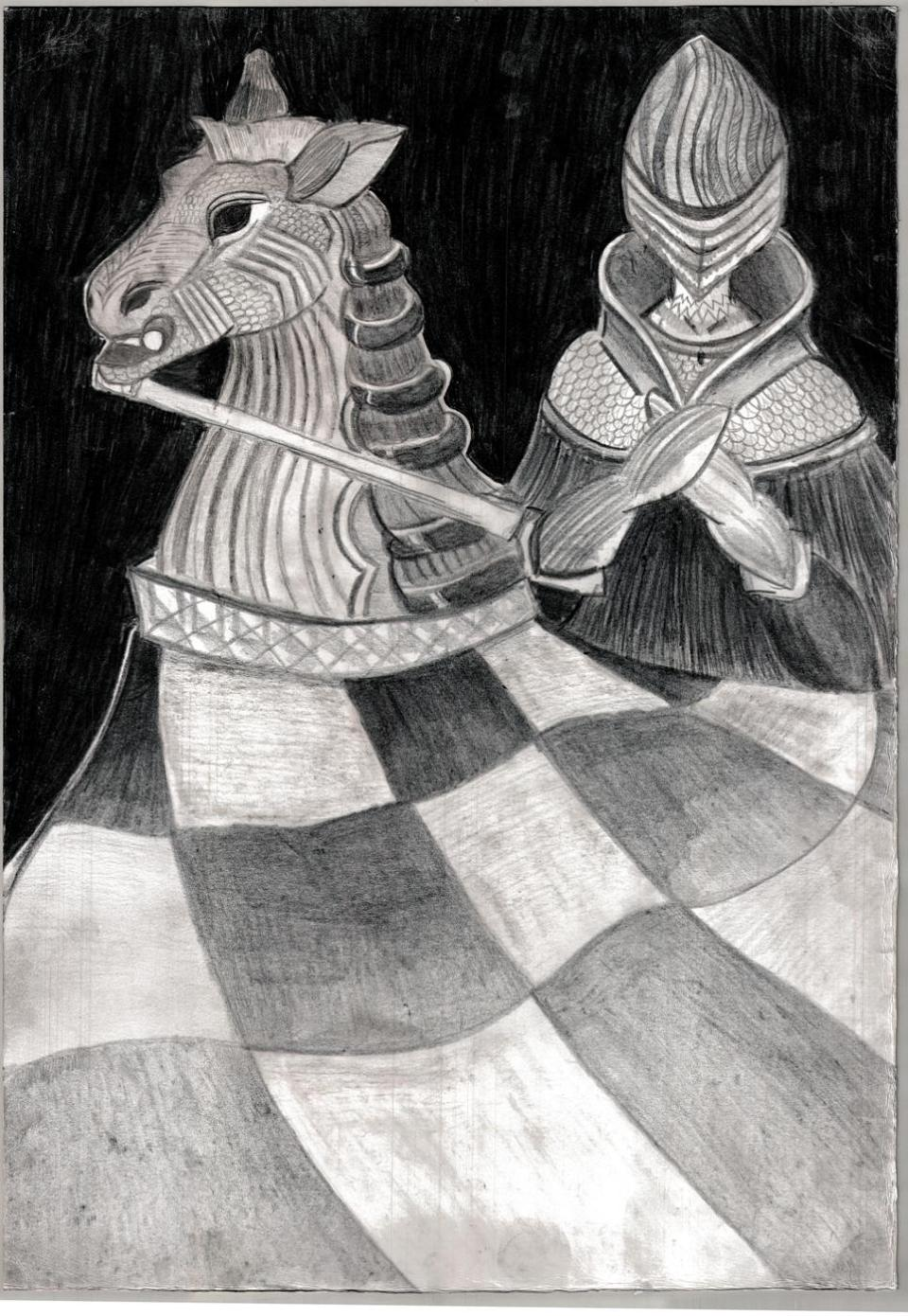 autorka, rysunek, Kinga Dulińska, 18 lat, MDK w Kielcach, konkurs plastyczny, królewska gra, szachy dla dzieci, MDK Śródmieście Wrocław, listopad 2015, interaktywny podręcznik szachowy, piękno szachów, szachowa sztuka, lekcje szachowe,