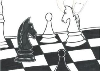 dotknięta - idzie, autor, rysunek, Michał Brzoza uczeń, Gimnazjum nr 13 im. Unii Europejskiej we Wrocławiu, in teraktywny podręcznik szachowy, lekcje szachowe, nauka gry w szachy dla dzieci, piękno szachów, szachowa walka,