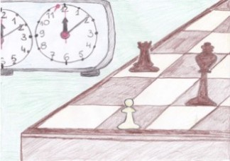 turniejowa partia, zegar szachowy, autor, rysunek, Mikołaj Sobolewski, uczeń, Gimnazjum nr 13 im. Unii Europejskiej we Wrocławiu, interaktywny podręcznik szachowy, nauka gry w szachy dla dzieci, lekcje szachowe, piękno szachów, szachowa estetyka,