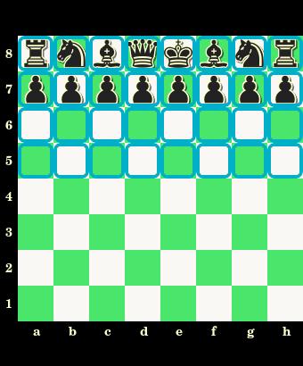 obóz czarnych, górna połowa szachownicy, czarne bierki, szachownica, diagram, interaktywny podręcznik szachowy, lekcje szachowe, szachy dla dzieci, strona szachowa, nauka szachów,