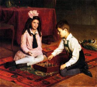 Szachowy mecz. Autor - Carl Probst (1854 – 1924,Austria).