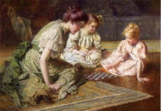Matka z córkami grają w szachy. Autor - Francis Coates Jones (1857 – 1932, Stany Zjednoczone).