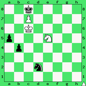 skoczek, matowanie skoczkiem, pion, pionek, daj mata w 2 ruchach, mat w dwóch posunięciach, zadanie, zadania szachowe, diagram, apronus, interaktywny podręcznik szachowy, król, lekcje szachów, nauka gry w szachy dla dzieci,
