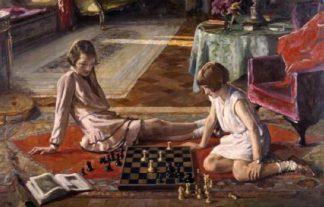 Szachistki. Autor - John Lavery (1856 – 1941,Irlandia).