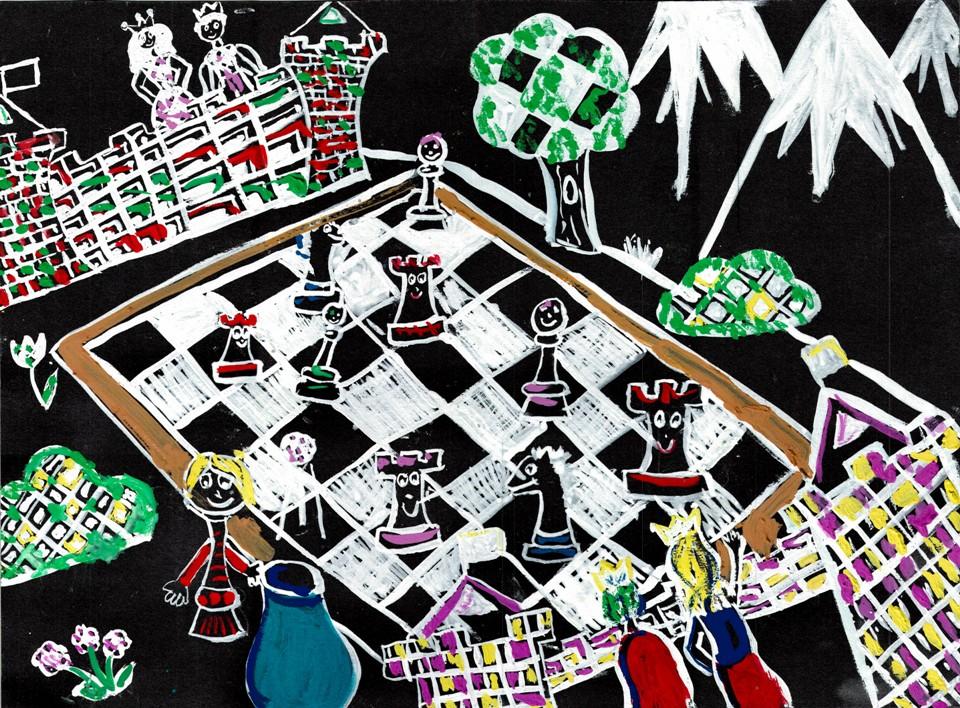 rysunek, autorka, Aleksandra Poleszak, 10 lat, Euro Szkoła Lublin, konkurs plastyczny, KRÓLEWSKA GRA, SZACHY dla dzieci, MDK Śródmieście Wrocław, listopad 2015, interaktywny podręcznik szachowy, piękno szachów,