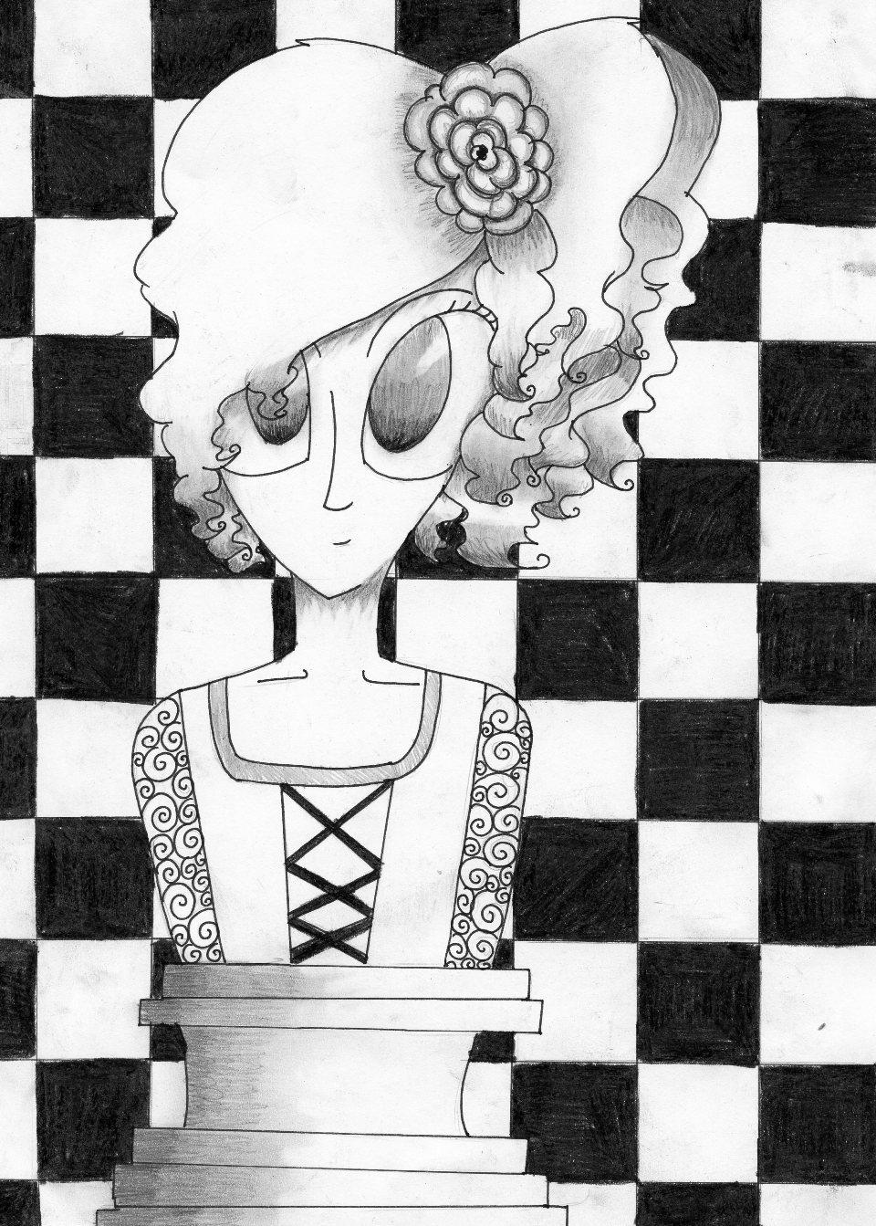 rysunek, autorka, Maja Kosieradzka, 11 lat, Zespół Szkół Publicznych nr 3 w Żyrardowie, konkurs plastyczny, KRÓLEWSKA GRA, SZACHY dla dzieci, MDK Śródmieście Wrocław, listopad 2015, interaktywny podręcznik szachowy, piękno szachów,
