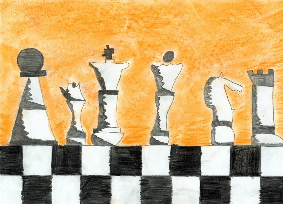 Rysunek, Autorka, Kinga Zdrowak, 14 lat, Specjalny Ośrodek Szkolno-Wychowawczy w Oświęcimiu, konkurs plastyczny, KRÓLEWSKA GRA, SZACHY dla dzieci, MDK Śródmieście, listopad 2015, bierki szachowe,