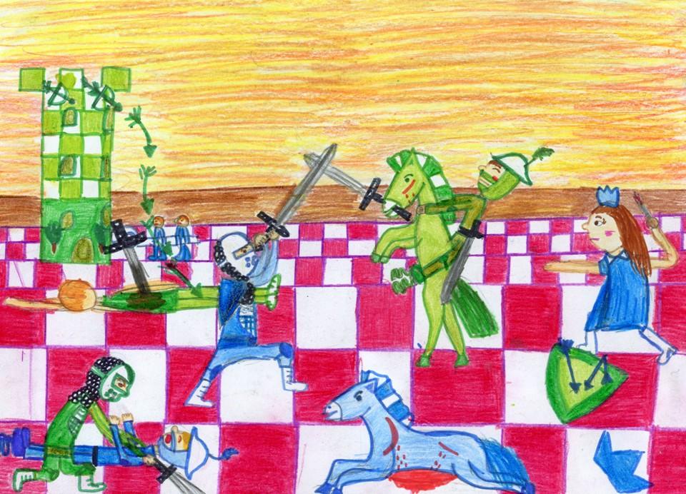 rysunek, autorka, Zuzanna Nietrzebska, 11 lat, Zespół Szkół Publicznych nr 3 w Żyrardowie, konkurs plastyczny, KRÓLEWSKA GRA, SZACHY dla dzieci, MDK Śródmieście Wrocław, listopad 2015, interaktywny podręcznik szachowy, piękno szachów, szachowa wojna,