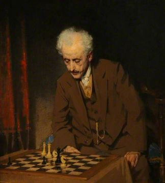 """Chess problem"" szkockiego malarza Johna MacDonalda Aikena (1880-1961)"