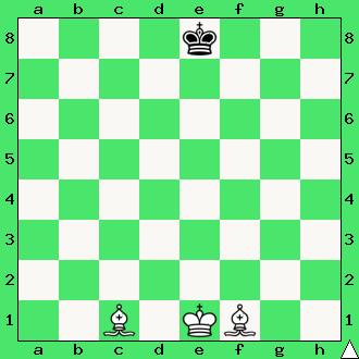 matowanie królem i parą gońców, król, goniec, dwa gońce, reguła 50 posunięć, 50 ruchów bez bicia i bez ruchu pionem, interaktywny podręcznik szachowy, apronus, diagram, szachownica, epodrecznik, szachy dla dzieci, nauka szachów, przepisy szachowe,