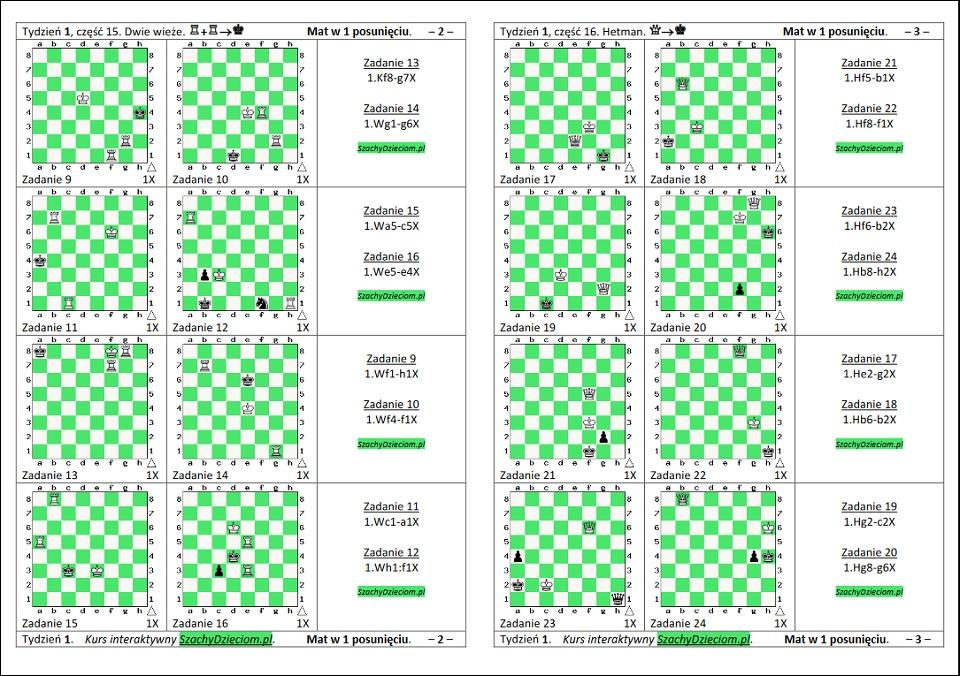 wersja do wydruku, kurs interaktywny szachydzieciom.pl, hetman, dwie wieże, zapis szachowy, diagramy szachowe apronus, widok zestawu zadań, mat w 1 posunięciu,