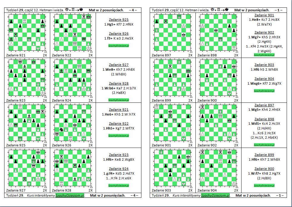 wersja do wydruku, kurs interaktywny szachydzieciom.pl, hetman i wieża, zapis szachowy, diagramy szachowe apronus, widok zestawu zadań, mat w 2 posunięciach,