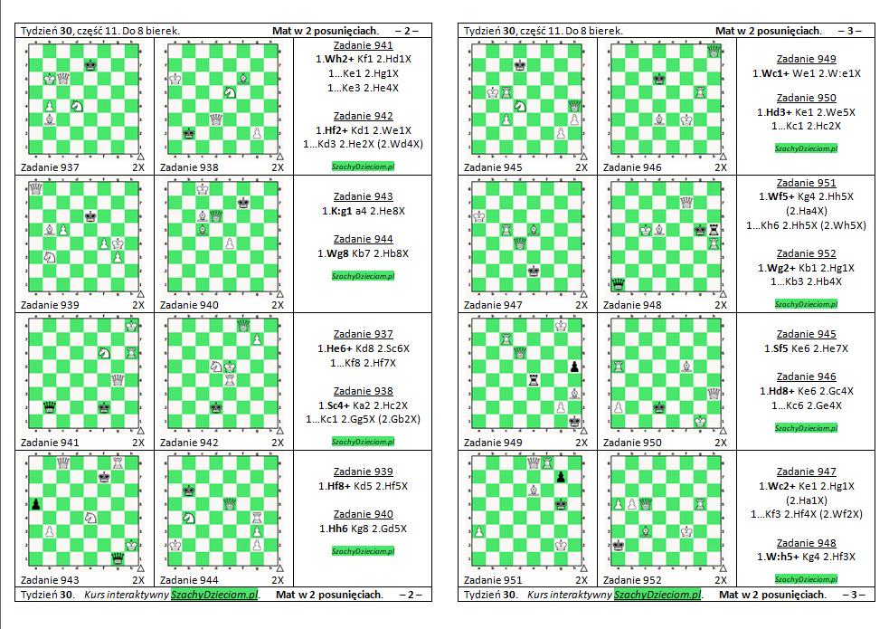 wersja do wydruku, kurs interaktywny szachydzieciom.pl, do 8 bierek, zapis szachowy, diagramy szachowe apronus, widok zestawu zadań, mat w 2 posunięciach,