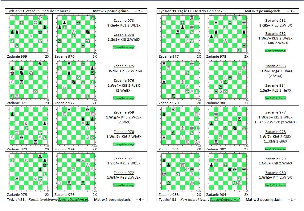wersja do wydruku, kurs interaktywny szachydzieciom.pl, od 9 do 12 bierek, zapis szachowy, diagramy szachowe apronus, widok zestawu zadań, mat w 2 posunięciach,