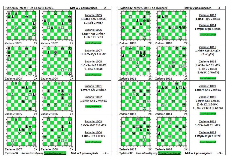 wersja do wydruku, kurs interaktywny szachydzieciom.pl, od 13 do 16 bierek, zapis szachowy, diagramy szachowe apronus, widok zestawu zadań, mat w 2 posunięciach,