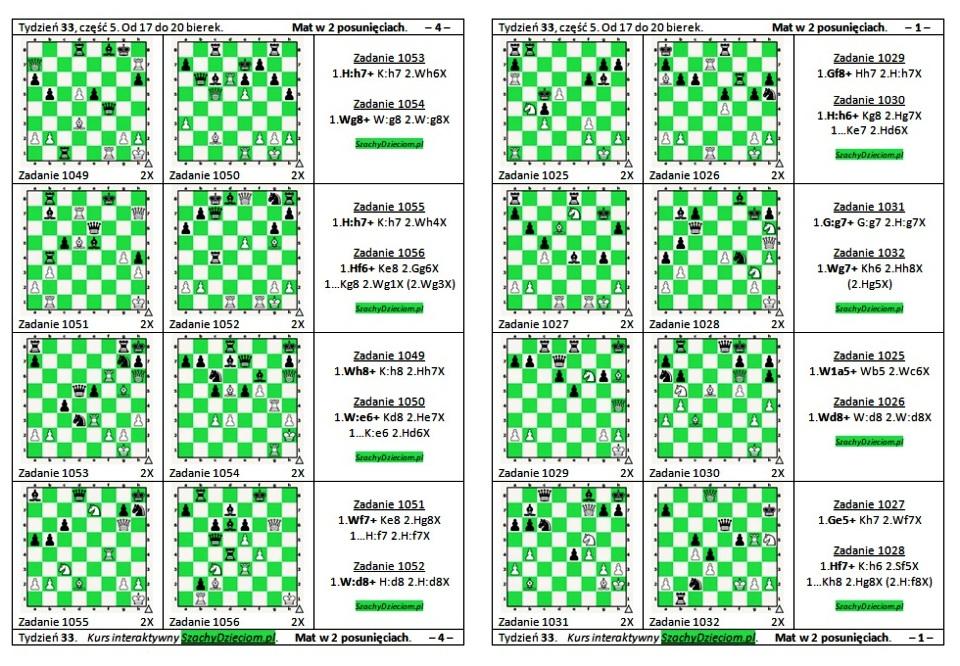 wersja do wydruku, kurs interaktywny szachydzieciom.pl, od 17 do 20 bierek, zapis szachowy, diagramy szachowe apronus, widok zestawu zadań, mat w 2 posunięciach,